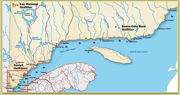 Map  Quebec North Shore Outfitters